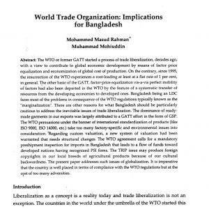 WORLD TRADE ORGANIZATION IMPLICATIONS FOR BANGLADESH